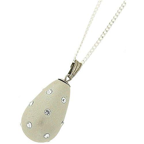 Perlato, in argento Sterling, a forma di ciondolo a goccia su catenina da 46 cm