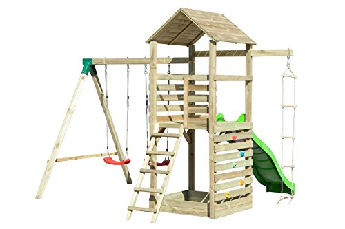 Spielturm 15 inkl. Wellenrutsche, Kletterwand, Doppelschaukel-Anbau und Strickleiter – Abmessungen: 350 x 345 cm