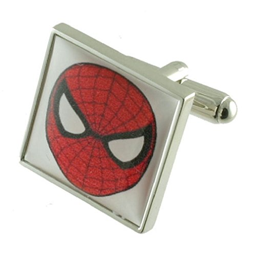 Film Spiderman Hero Manschettenknöpfe für Herren Manschettenknöpfe Sterling Silber 925massiv + personalisierte Gravur Box