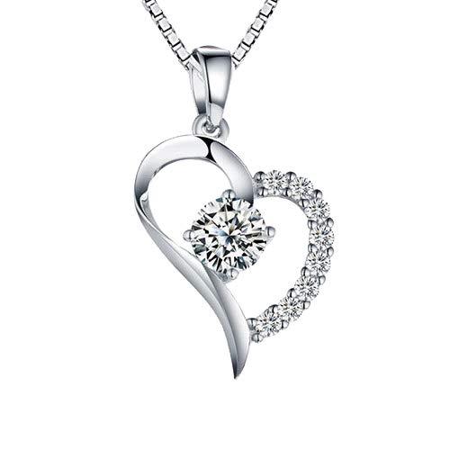 Aunek collane cuore per donna, ciondolo in argento 925 con zircone cubico in sterling 925 per signora, ornamenti di pietra per compleanni, anniversari, matrimoni, di natale - gioielleria raffinata