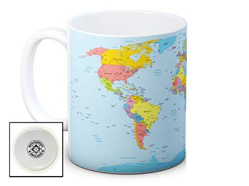 Mapa mundo políticos–Alta calidad café taza