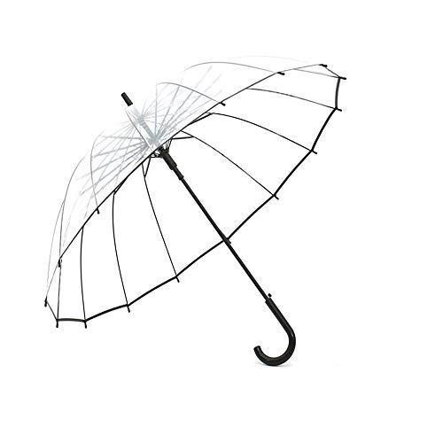 Lancoon Paraguas De Burbuja Transparente, 16 Costillas De Fibra De Vidrio TamañO Grande A Prueba De Viento AutomáTico Abierto Transparente KS10Black
