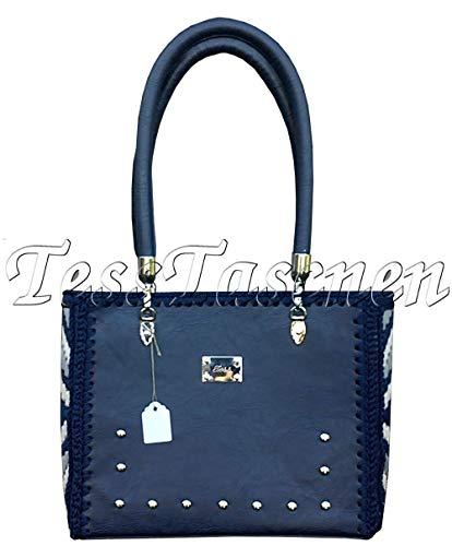 Blaue Nieten-handtasche (Dunkelblaue Schultertasche mit Runden Griffen .Handtasche mit Nieten.Quadratische Tasche mit Stickereien.Blaue Tote Bag- Veganes Leder Tragetasche)