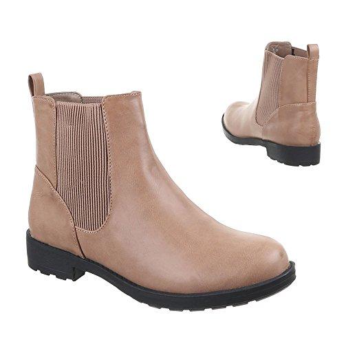 Damen Schuhe, 1140-PA, STIEFELETTEN Hellbraun