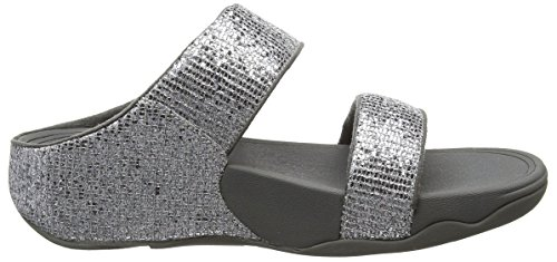 FitFlop Damen Lulu Superglitz Slide Sandalen Silberfarben