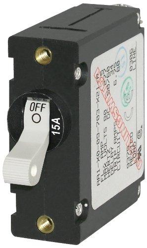 15 Amp Single Pole (Blue Sea Systems A-Serie Toggle Single Pole Circuit Breakers, weiß, 15 Amp)