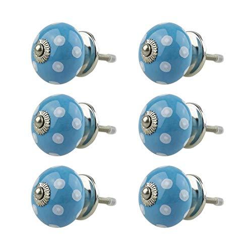 Möbelknopf Möbelknauf Möbelgriff 6er Set 034GN Punkte Weiß Blau - Jay Knopf Keramik Porzellan handbemalte Vintage Möbelknöpfe für Schrank, Schublade, Kommode, Tür -