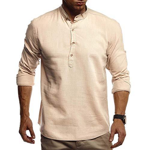 UFACE Herren Plus Größe Hemd, Herbst Winter Casual Leinen Und Baumwolle Lose Kurzarm Einfarbig V-Ausschnitt T-Shirt Mode Top Bluse Tees