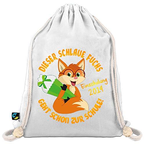 Turnbeutel zur Einschulung/Sportbeutel zum Schulanfang: Dieser schlaue Fuchs geht in die Schule -
