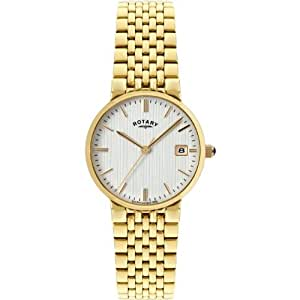 Rotary Men's Quartz Watch with White Dial Analogue Display and Gold Plated Stainless Steel Bracelet GB0049806