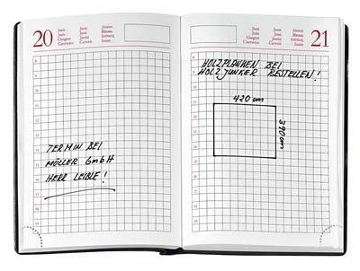 Handwerker-Kalender DIN A6 kariert 384 Seiten schwarz jahresunabhängig
