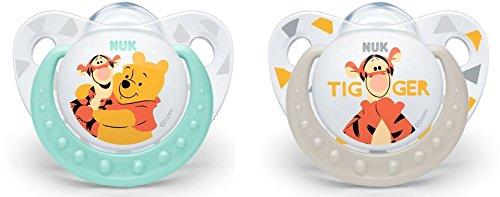 NUK 10175170 Disney Winnie Silikon-Schnuller, kiefergerechte Form, 0-6 Monate, 2 Stück, Boy, weiß