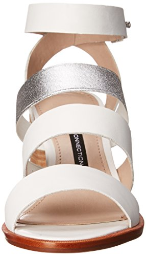 French Connection Ciara Cuir Sandales Gladiateur White -Silver