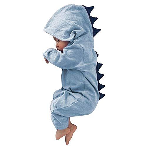 Dehots Baby Kleidung Jungen Mädchen Strampler Overall Jumpsuit Kleinkind Bodysuits Outfits Einteiler Jacke 0-18 Monate Neugeborenen Schlafstrampler Säugling, Blau, 0-3 Monate