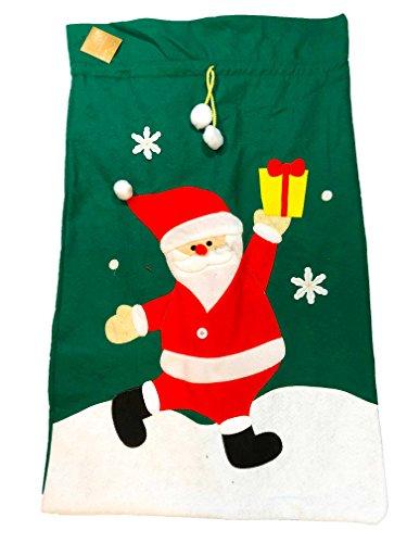 Sacco di natale in feltro, gigante, di colore verde, con babbo natale, per inserire i regali di natale