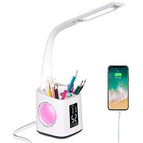 PETHOMEL LED-Schreibtischlampe Mit USB-Ladeanschluss Stifthalter, Augen Pflege, Verbesserung Visuelle Effekte, Mit Stifthalter Wecker, Für Arbeit Lesen, Haushalt,Weiß -
