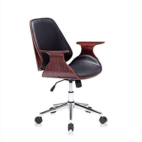 MY SIT Design Stuhl Retro Drehstuhl Bürostuhl Vintage Antik Kunstleder Drehhocker Wohnzimmerstuhl Esszimmerstuhl Drehsessel Höhenverstellbar - Sadie in Schwarz/Braun (Schreibtisch Antik Schwarz)