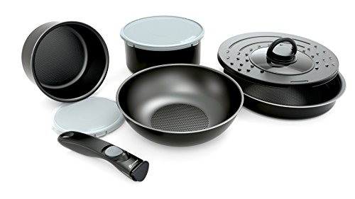 Set of 8 Pots and Pan with Removable Handles - Suitable for all Hobs Including Induction Hobs, Black