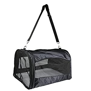 Cosy-Life-Folding-Carrier-Soft-Side-Panels-45-x-36-x-25-cm-Black