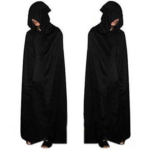 BIEE, Umhang mit Kapuze Kostüm Crushed Velvet Kapuzen Cape Cosplay - Offizielle Erwachsene Halloween Lange Crushed Velvet Cape Kostüm - Schwarz, Eine Größe (160 cm)