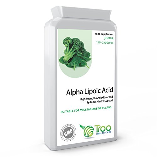 Alpha Lipoic Acid 300mg 120 Capsules - Antioxidant and Systemic Health Support - UK Manufactured GMP Quality Guarantee Test