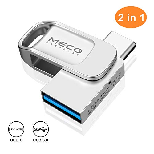 USB Stick 64GB, MECO ELEVERDE USB C Stick 2-in-1 USB 3.0 OTG Speicherstick wasserdichte Flash Drive Memory Stick für PC/Laptop/Notebook/Typ-C-Handy, usw