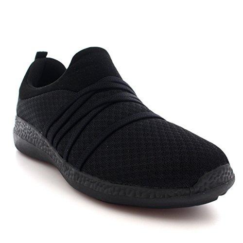 Femmes Poids Léger Engrener En Marchant Confortable Rembourré Chaussures Formateurs Noir/Noir