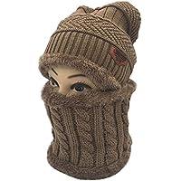 JER Unisex Slouchy Beanie Wintermütze Knit warmer Schnee Ski Schädel Kappe Set für den Herbst und Winter Khaki Winter Hut Schal