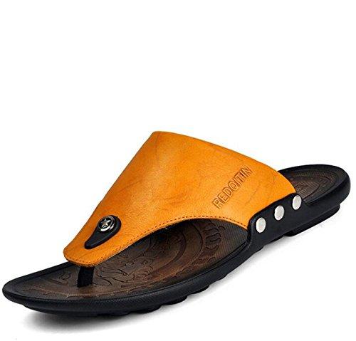 Beauqueen Man's Outdoors Strand Clip-Toe Leder Hausschuhe Sommer Gesunde Soft Outsoles Lässige Anti-Rutsch-Sport Casual Comforty Schuhe EU Größe 38-44 , yellow , 41 (Nike Light Up Schuhe)