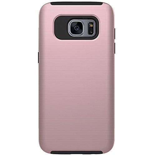 Für Samsung Galaxy S6 Edge Case, gebürstet Metallic Finish Back Cover Dual Layer 2 In 1 Hybrid Hard PC Soft TPU Stoßdämpfer Stoßfeste Gehäuseabdeckung ( Color : Rose ) Rose Gold
