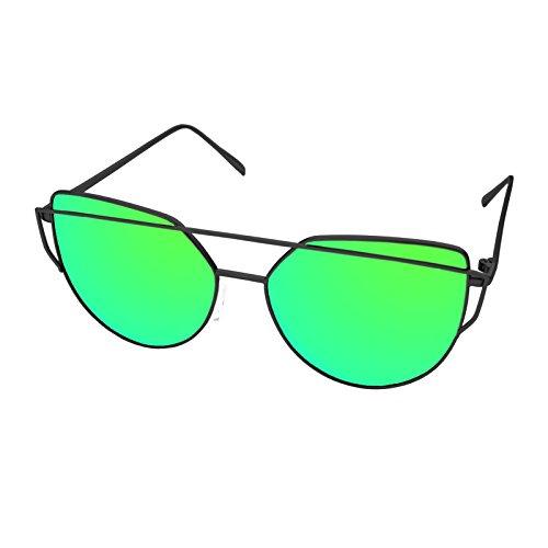 LooKLooK® Katzenauge Style Fashion Sonnenbrille für Frauen - Elegantes und Modernes Design mit Metallrahmen und Plane Anti Glare Verspiegelte nicht Polarisierte Brille 100% UV400 Sonnenschutz Leicht