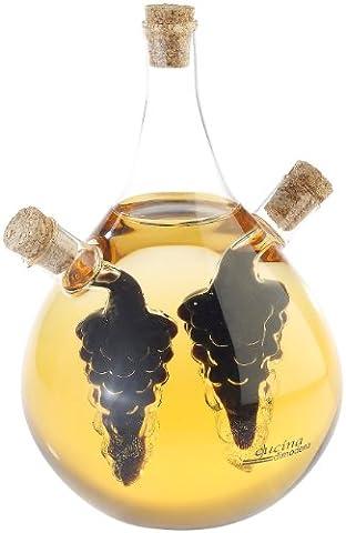 Cucina di Modena Essig Öl Spender: Mundgeblasener Glas Essig- & Ölspender, drei getrennten Kammern, 500ml