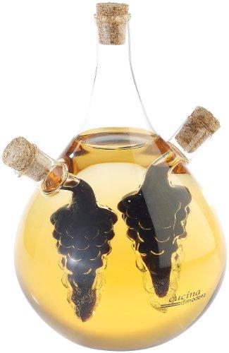 Cucina di Modena Essig Öl Spender: Mundgeblasener Glas Essig- & Ölspender, drei getrennten Kammern, 500ml (Essig und Oelspender)