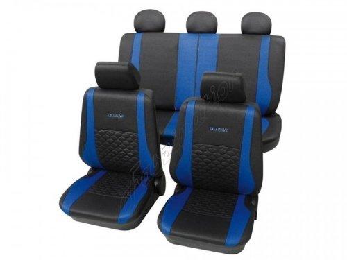 Housses pour sièges de voitures auto, Aspect cuir, Kit complet, Peugeot 206 / 206+ à partir de 2009, anthracite noir bleu