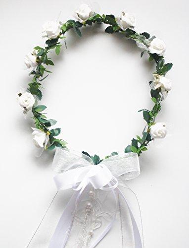 Corona de pelo–Corona de flores Fb Blanco Comunión Niño y flor