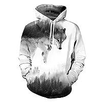 Belovecol Wolves Graphic Hooded Sweatshirt for Men Women Realistic 3D Print Cool Long Sleeve Fleece Pockets Hoodies Medium