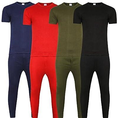 Mens Thermal Underwear Set Short Sleeve Vest & Long John Baselayer