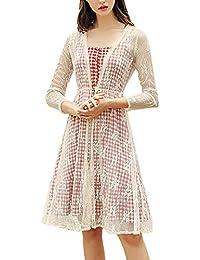 Donna Vestito Estivi Pizzo Cardigan Vestiti Set Eleganti 2Pcs Classiche Anni  20 Fionda Smanicato Vintage Linea Ad… ba1c2cc30e3