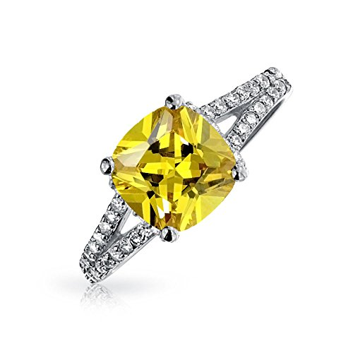 925 Silver 2 Carat Cushion Cut Canary CZ Engagement - 2ct Ring Engagement Cz