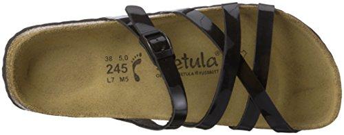 Betula Stripes Cross Buckle, Ciabatte Donna Nero (Schwarz (Bf Black Patent))