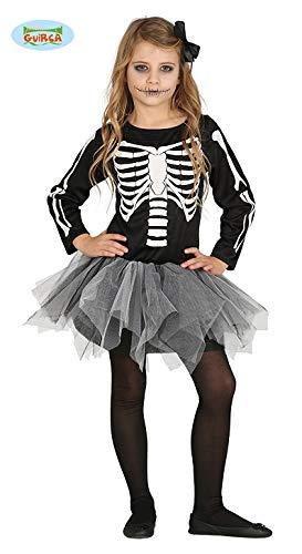 Skelett Kostüm Tutu - Guirca schauriges Skelett Kleid für Mädchen Halloween Tutu Kinder Kostüm Gr. 98-146, Größe:98/104