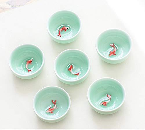 CUPWENH 6 Stücke Celadon 3D Golden Fish China Teetasse Set Kung Fu Teetasse Set Knistern Glasur Reise Teeschale Chinesisches Porzellan Teetasse Set Für Geschenk Und Haushalts Büro