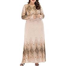 zhxinashu Manga Larga Más El Tamaño de Las Mujeres Musulmán Vestido Maxi Suelto Caftán Dubai Islámica