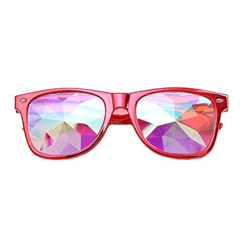 sunshineBoby Kaleidoskop Gläser Rave Festival Party EDM Sonnenbrille Beugungslinse Damen und Herren Mode Driving Sonnenbrille Polarisierte Brille Sport Eyewear Angeln Golf mit Rahmen (rot)