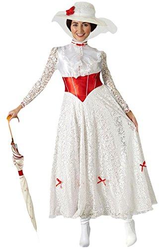 Halloweenia - Damen Mary Poppins Kostüm, Karneval, Fasching, Weiß, Größe XL