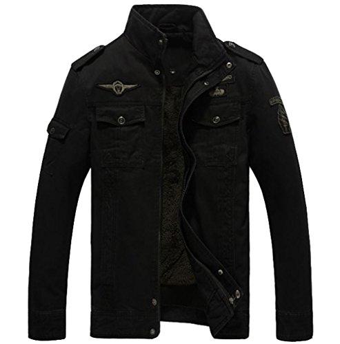 Yuandian uomo primavera autunno casual taglie forti stile militare cargo giacca multi-tasca stand collare ricamo spallina bomber giubbotti cappotti nero plus velluto 6xl