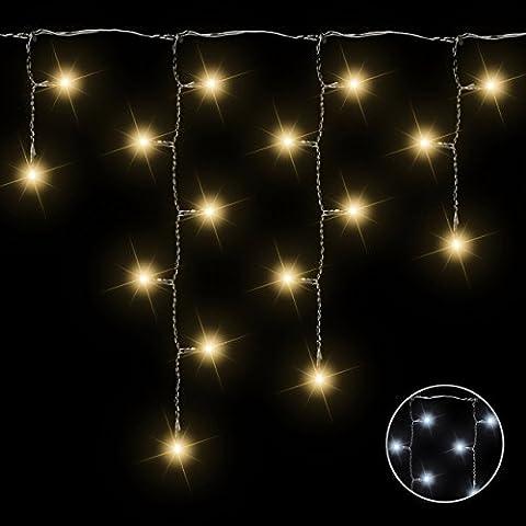 400 LED Lichterkette Eisregen Eiszapfen warm weiß Außen Weihnachtsbeleuchtung Xmas transparentes Kabel Gesamtlänge 17,80 m Zuleitung 10 m Strangabstand 9 cm mit Netzteil Trafo