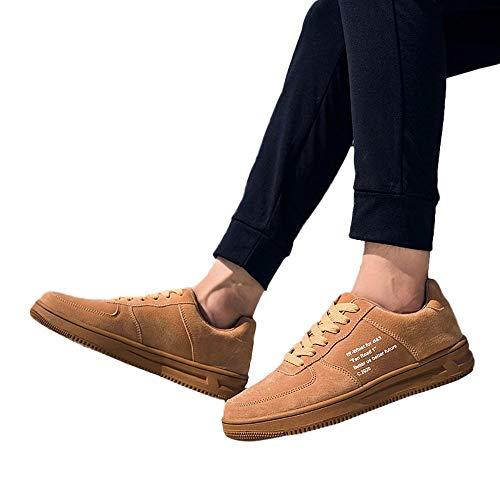 Moika casual scarpe fondo piatto scarpe in pelle traspirante scarpe sportive uomo (240/39, marrone)