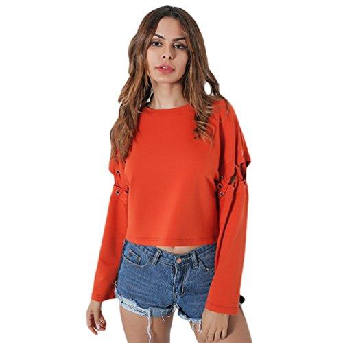 Yiiquan Felpa Donna Moda Manica Lunga Fori Felpa Maglione Pullover Top Camicetta Arancia