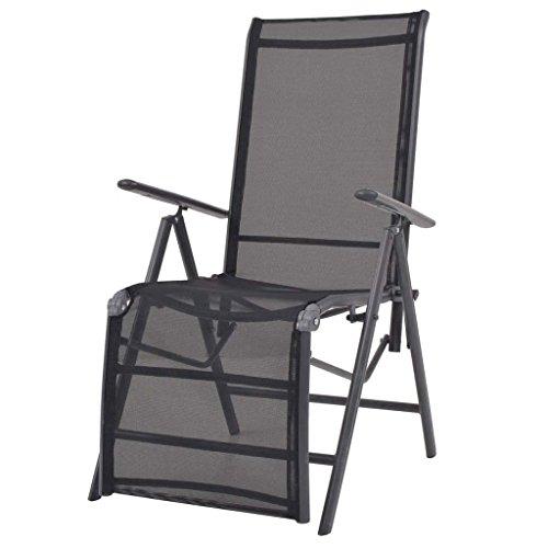 WEILANDEAL Chaise Longue inclinable Textilene Noir 58,5 x 69 x 110 cmMateriau : Siege en textilene + Cadre en 100% Aluminium Enduit de Poudre + accoudoir en Composite Bois-Plastique Chaise Longue